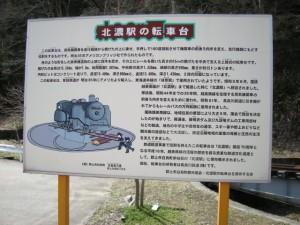 長良川鉄道 北濃駅手動式転車台(説明板)