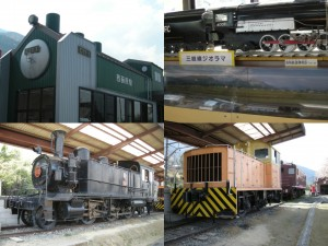 三岐鉄道 西藤原駅舎、展示車両と模型