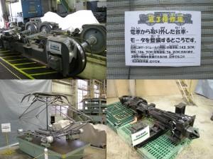 きんてつ鉄道まつり2009塩浜研修車庫 回送用台車,パンタPT42,密着連結器
