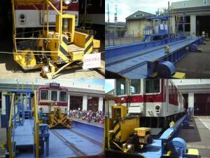 きんてつ鉄道まつり2009塩浜研修車庫 トラバーサーによる車両(2002)移動