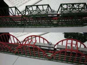 ジオラマレール鉄橋複線化 トラス鉄橋、Bアーチ鉄橋A