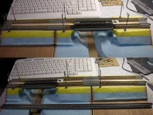 路モジオルタ、鉄橋+築堤モジュール複線間隔変更
