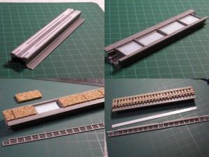 PCコンクリート橋の修正、道床作成、手すり追加
