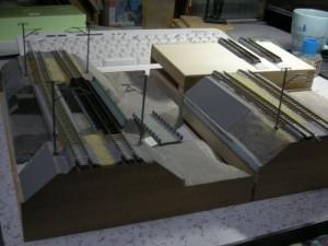 築堤+鉄橋モジュール、分割状態