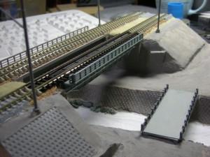 築堤+鉄橋モジュール、地面塗装