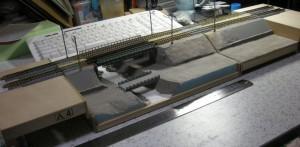 築堤+鉄橋モジュール、地面塗装、TOMIX対応フォーメーション