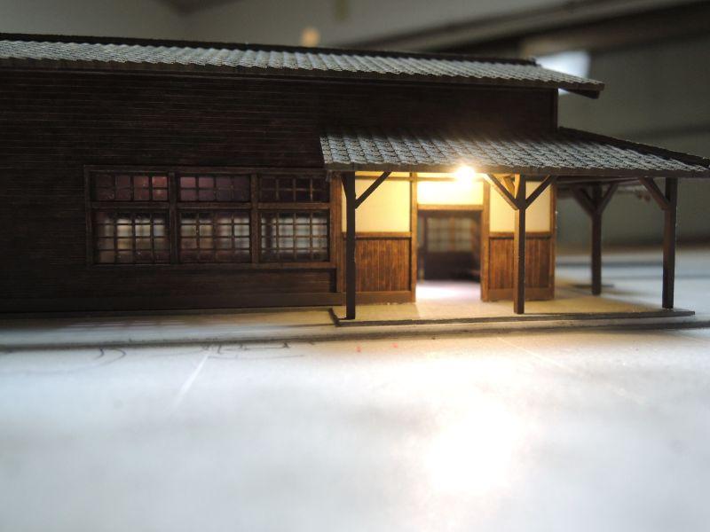 嘉例川駅の正面電飾テスト